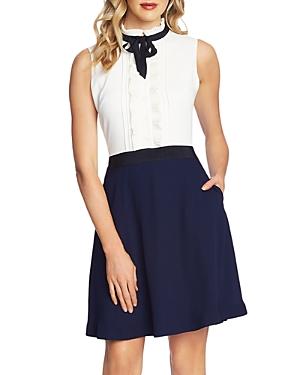 CeCe Tie-Neck Combo Dress-Women