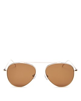 Illesteva - Unisex Dorchester Brow Bar Aviator Sunglasses, 55mm