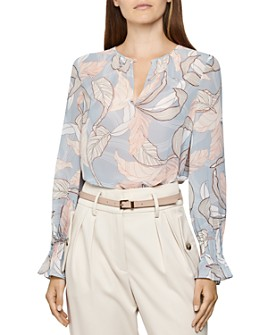 REISS - Hazel Leaf-Print Blouse