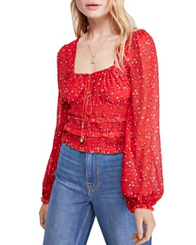 Free People - Lolita Floral Peasant Top