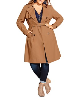 City Chic Plus - Double-Breasted Trench Coat
