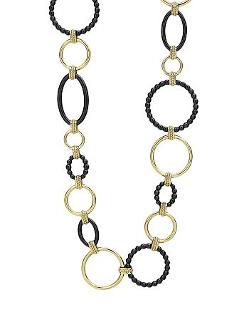 LAGOS - 18K Yellow Gold Gold & Black Caviar Black Link Necklace, 18""