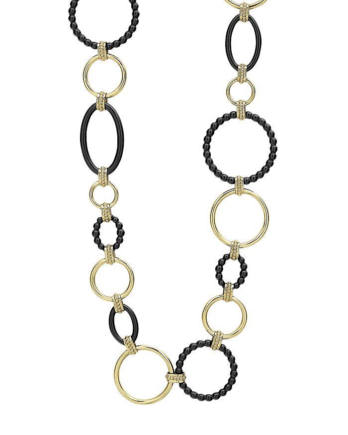 "LAGOS - 18K Yellow Gold Gold & Black Caviar Black Link Necklace, 18"""