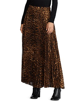Ralph Lauren - Pleated Ocelot-Print Maxi Skirt