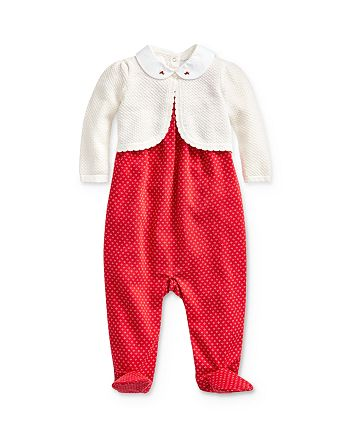 Ralph Lauren - Girls' Scalloped Cardigan, Bodysuit & Footie Set - Baby