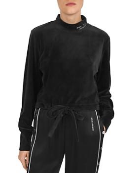 The Kooples - Tie-Front Velvet Sweatshirt