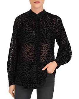 The Kooples - Artichoke Leopard Burnout Velvet Shirt