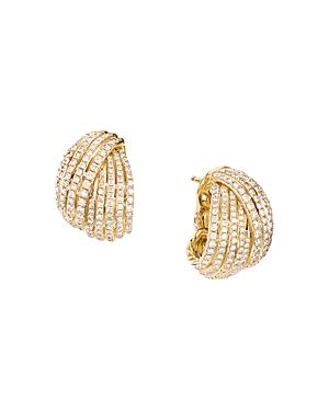 David Yurman 18K Yellow Gold Origami Shrimp Earrings with Pave Diamonds