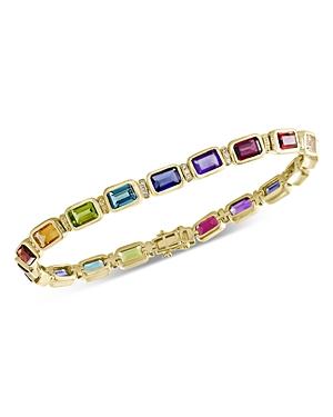 Bloomingdale's Rainbow Gemstone & Diamond Bracelet in 14K Yellow Gold - 100% Exclusive