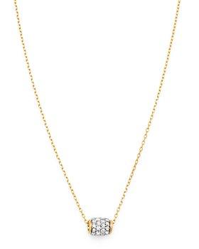 "Adina Reyter - 14K Yellow Gold Pavé Diamond Super Tiny Barrel Pendant Necklace, 15""-16"""