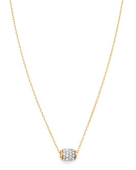 "Adina Reyter - 14K Yellow Gold Pavé Diamond Super Tiny Barrel Pendant Necklace, 15""-16"""