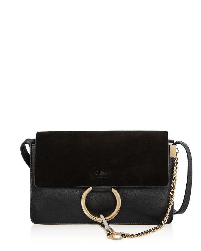 Chloé Faye Small Leather Shoulder Bag In Black