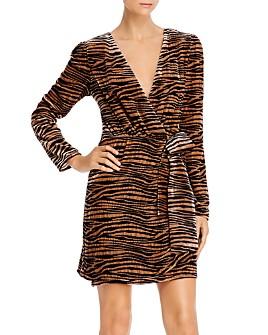 WAYF - Mylene Tiger-Stripe Velvet Wrap Dress
