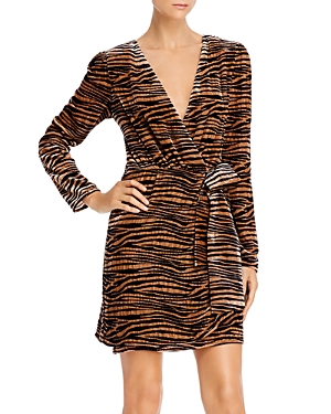 Wayf Mylene Tiger Stripe Velvet Wrap Dress