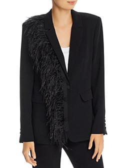 Cinq à Sept - Portia Single-Breasted Feather Trim Blazer