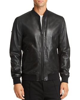 Superdry - Leather Slim Fit Bomber Jacket