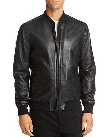 Superdry - Leather Slim Fit Bomber Jacket