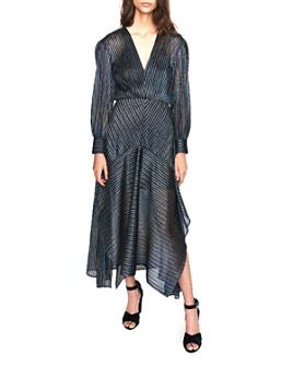 Maje - Rainbow Striped Metallic Midi Dress
