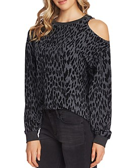 VINCE CAMUTO - Cold-Shoulder Animal-Print Sweatshirt