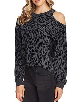 VINCE CAMUTO - Cold-Shoulder Animal-Print Sweatshirt