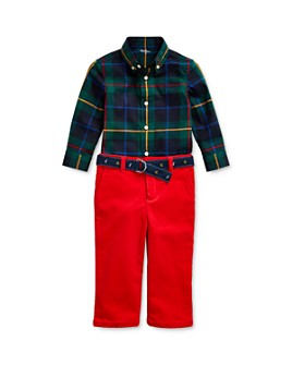 Ralph Lauren - Boys' Plaid Shirt & Belted Corduroy Pants Set - Baby