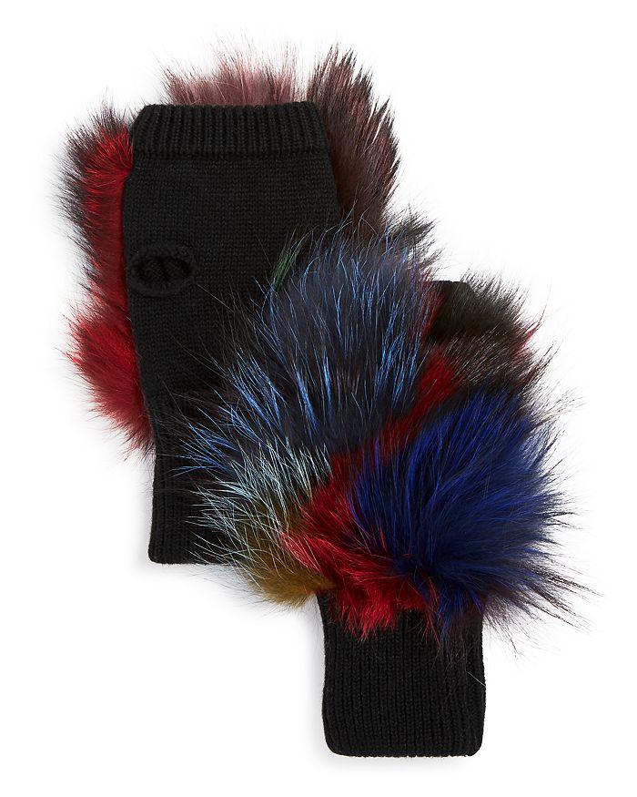 Jocelyn Gloves Insomniac Fox-Fur Trim Fingerless Gloves