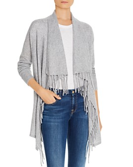 C by Bloomingdale's - Fringe-Trim Cashmere Cardigan - 100% Exclusive