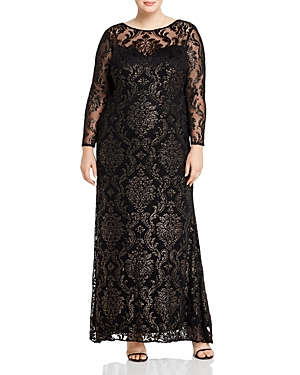 1920s Plus Size Flapper Dresses, Gatsby Dresses, Flapper Costumes Adrianna Papell Plus Metallic Velvet Burnout Gown AUD 414.41 AT vintagedancer.com