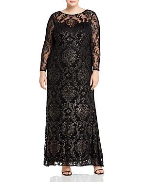 Vintage 1920s Dresses – Where to Buy Adrianna Papell Plus Metallic Velvet Burnout Gown AUD 477.50 AT vintagedancer.com