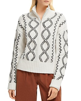 FRENCH CONNECTION - Susa Cable Knits Zip-Front Sweater