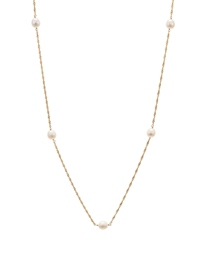 Argento Vivo Cultured Freshwater Pearl Station Necklace in 18K Gold-Plated Sterling Silver, 36.5