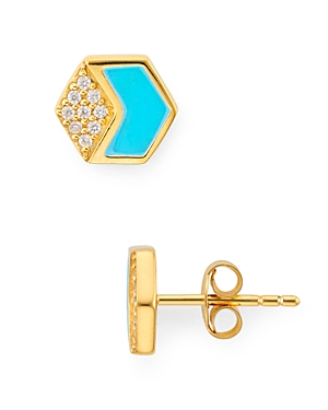 Argento Vivo Hexagonal Stud Earrings in 18K Gold-Plated Sterling Silver-Jewelry & Accessories