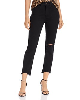 Levi's - 724 High-Rise Cropped Straight-Leg Jeans in Black Pixel