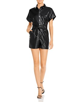 Bardot - Bardot Belted Faux Leather Romper