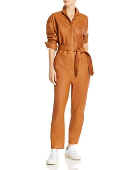 Notes du Nord - Nixon Belted Leather Jumpsuit