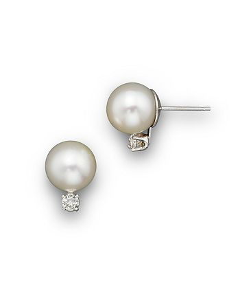Bloomingdale's - Cultured Akoya Pearl Stud Earrings with Diamonds in 14K White Gold, 7mm - 100% Exclusive