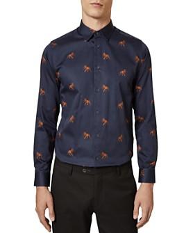 Ted Baker - Hailin Lion Print Slim Fit Button-Down Shirt