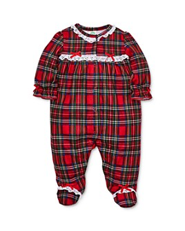 Little Me - Girls' Eyelet-Trim Plaid Footie - Baby