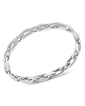 David Yurman - 18K White Gold Stax Chain Link Bracelet with Diamonds