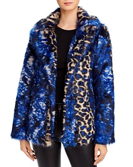 GUESS - Animal-Print Faux Fur Jacket