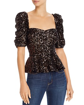 Amanda Uprichard - Natasha Sequined-Velvet Peplum Top