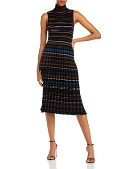 MILLY - Pleated Metallic Striped Knit Dress