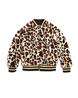 Flowers by Zoe - Girls' Faux Fur Leopard Bomber Jacket - Little Kid