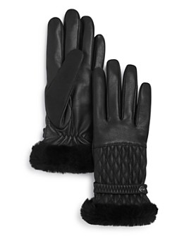 UGG® - Quilted Shearling-Cuff Leather Tech Gloves