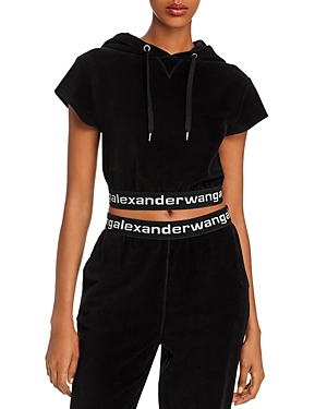 alexanderwang.t Stretch Corduroy Cropped Logo Hoodie