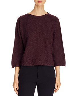 Eileen Fisher - Ribbed Cashmere Boatneck Sweater - 100% Exclusive