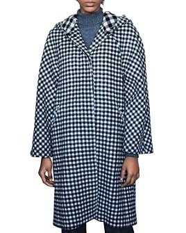 Maje - Goga Hooded Gingham Coat