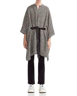 Maje - Giro Belted Houndtooth Poncho Coat