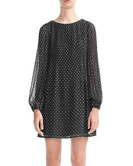 Maje - Rockito Pleated Polka Dot Shift Dress