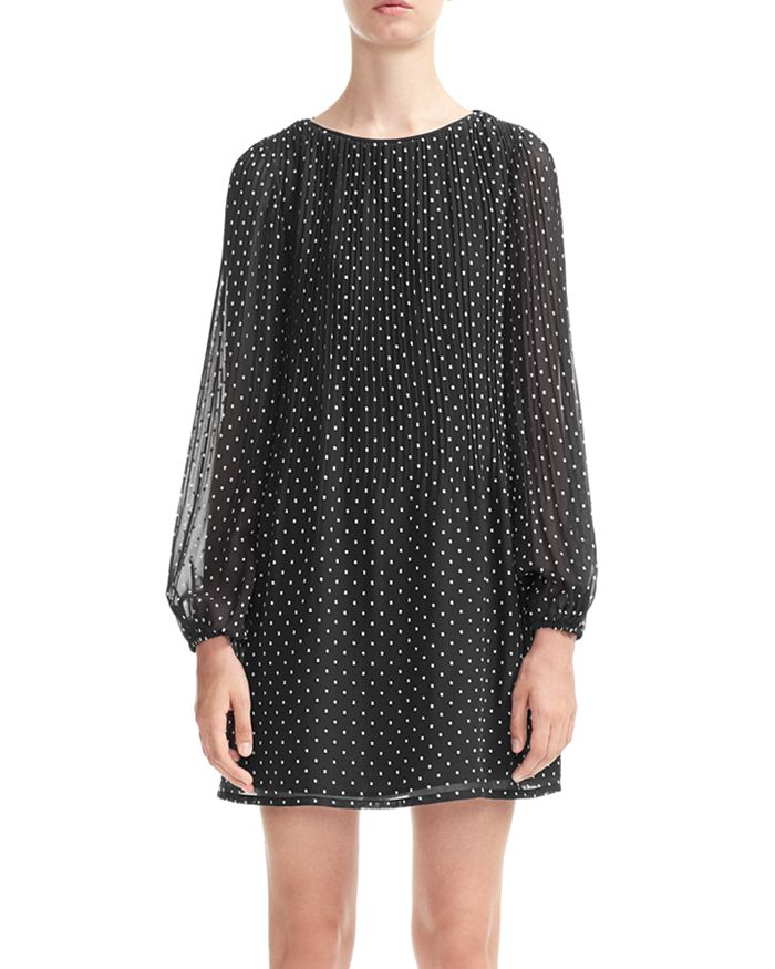 Maje - Rockito Pleated Polka Dot Shift Dress